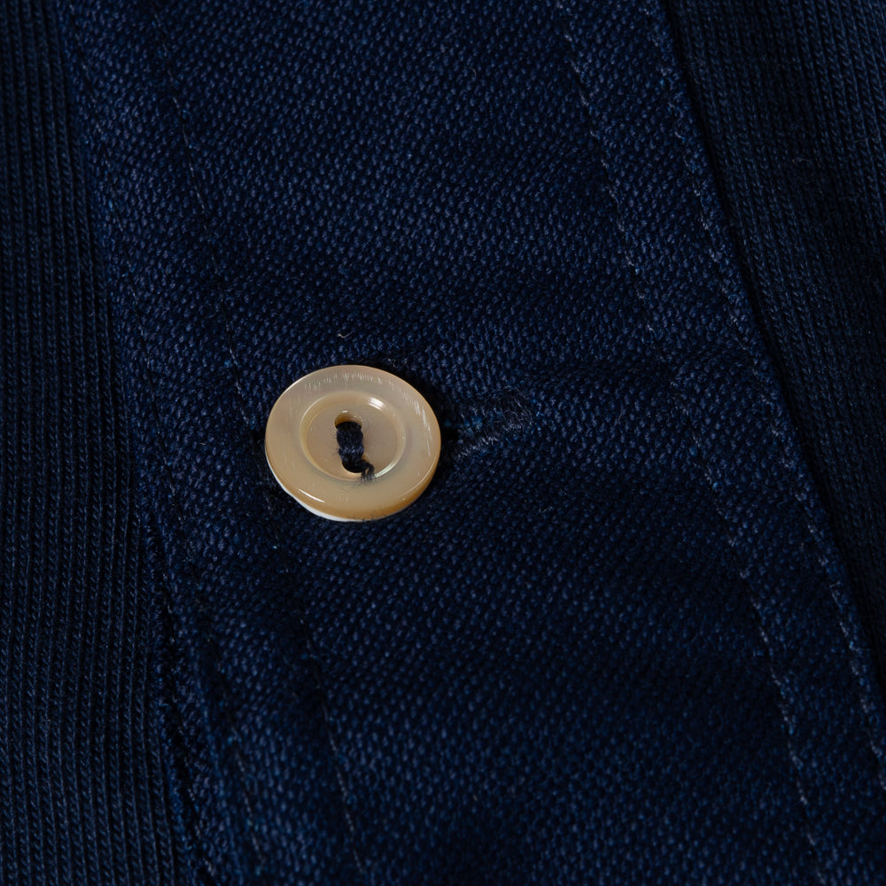 MERZ B SCHWANEN 226 LONG SLEEVE BUTTON FACING - INK BLUE INDIGO