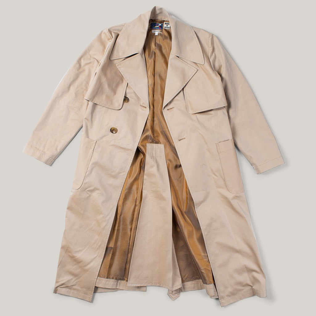 BLUE BLUE JAPAN WOMEN'S IRIDESCENT TWILL DOUBLE BREASTED OVERCOAT - TAN