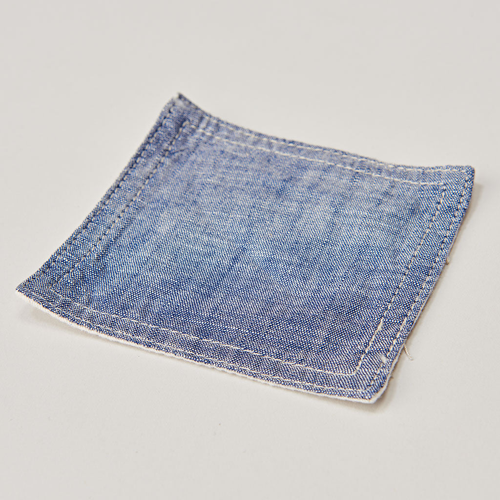 BASSHU NAVY CHAMBRAY COASTER SET