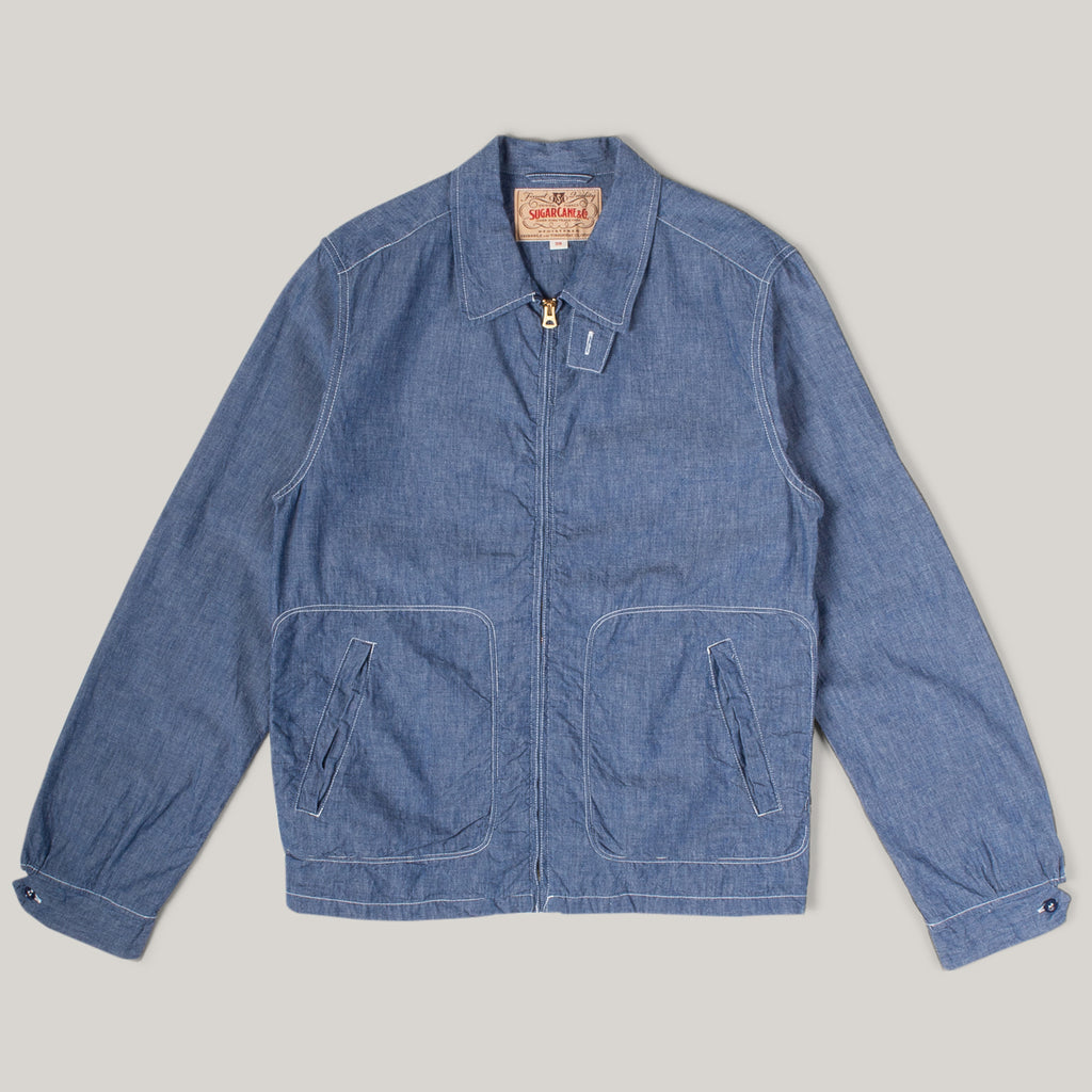 SUGAR CANE 5OZ. CHAMBRAY SPORT JACKET - BLUE