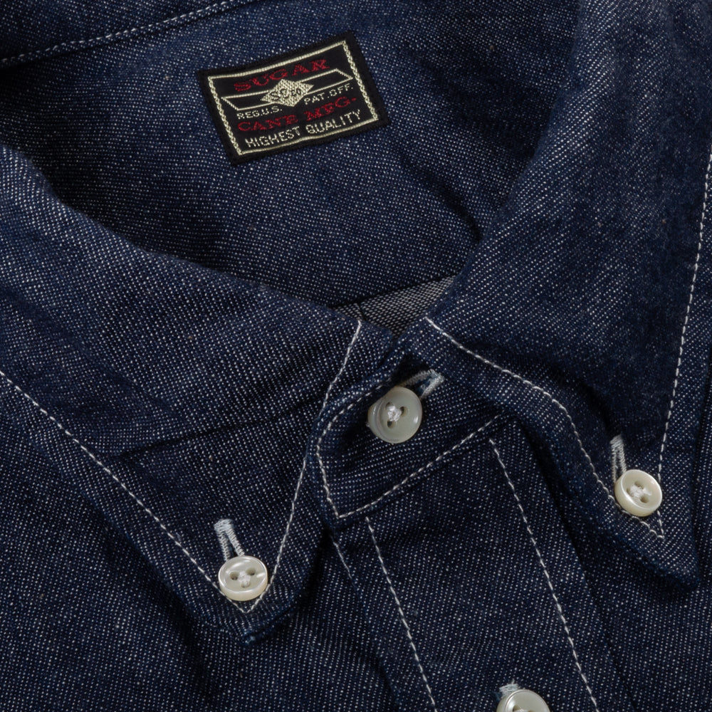 SUGAR CANE 8.5 OZ. BLUE DENIM BUTTON DOWN SHIRT