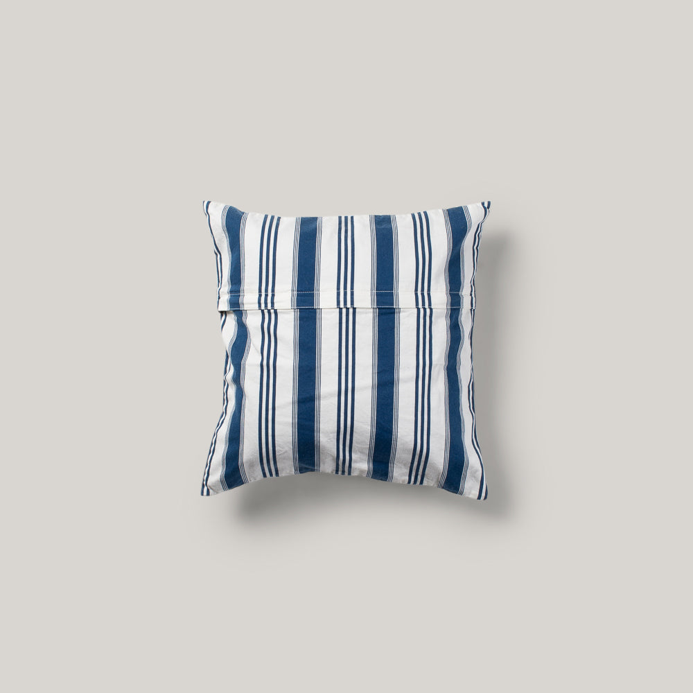 BASSHU INDIGO BLUE/ WHITE STRIPE CUSHION COVER