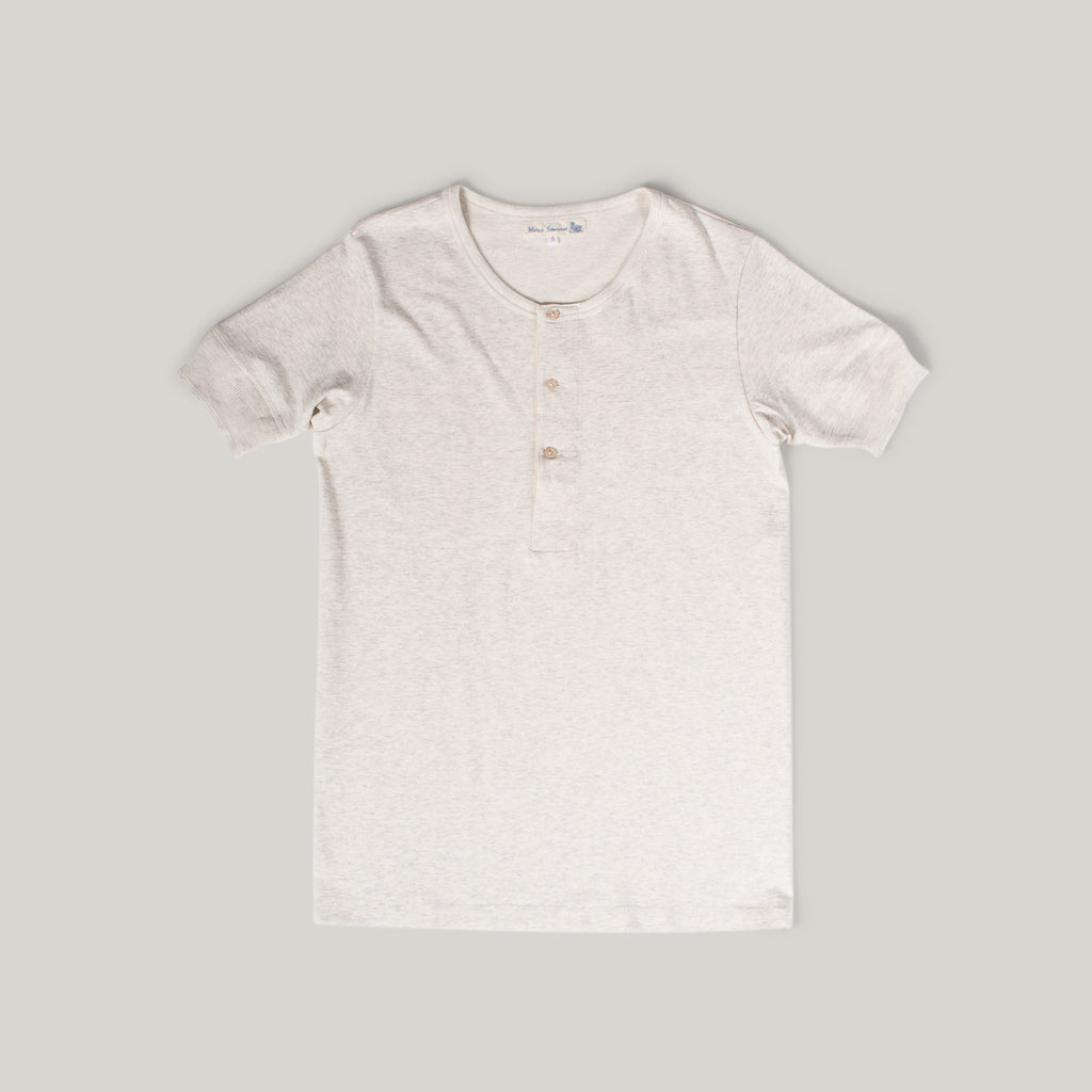 MERZ B SCHWANEN SHORT SLEEVED HENLEY SHIRT 207 - NATURAL MELANGE