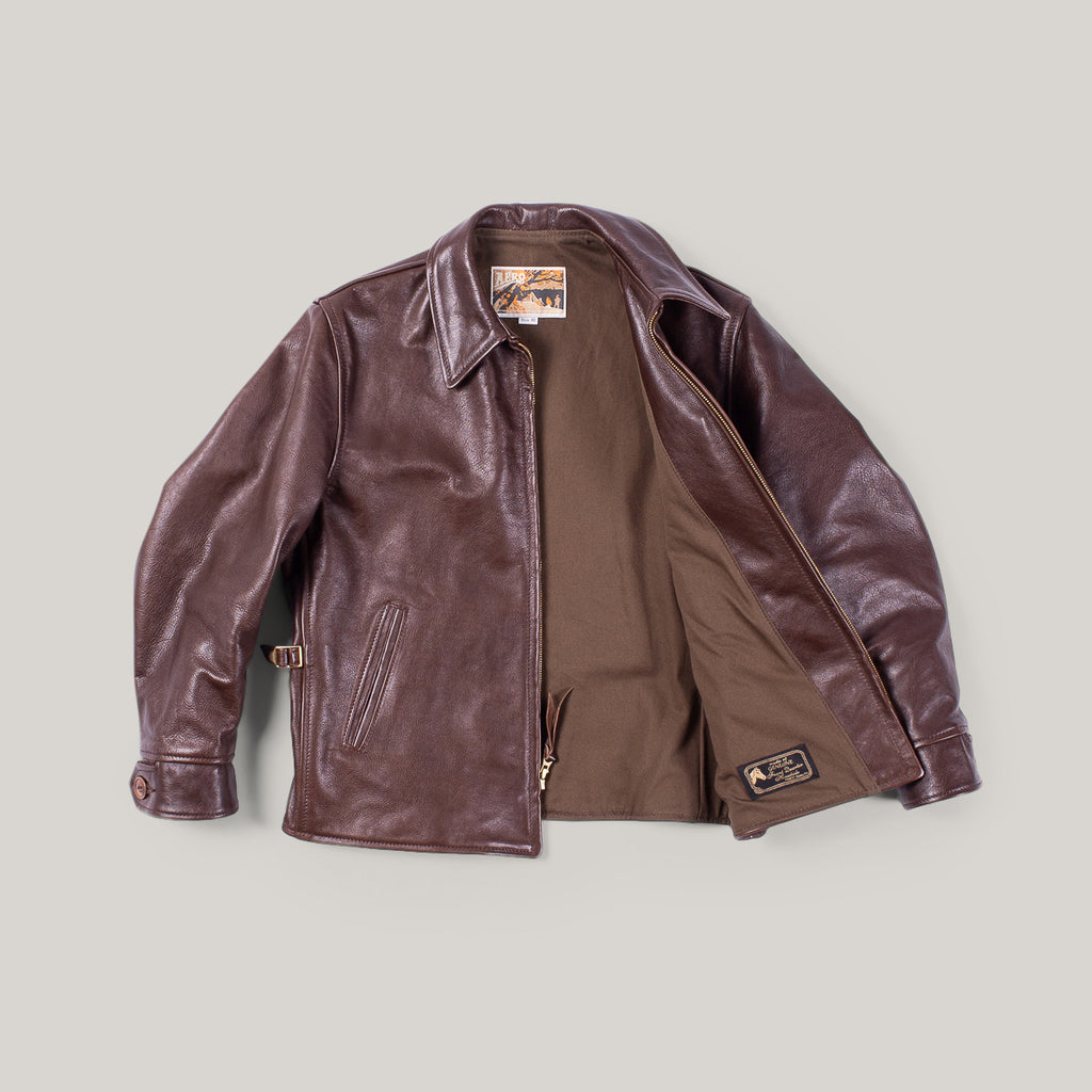 AERO LEATHER CUSTOM PLAINSMAN JACKET - SEAL VICENZA