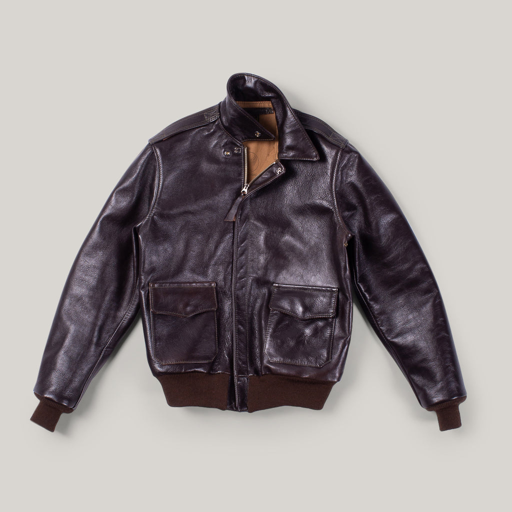 AERO LEATHER A2 BRONCO - SEAL HORSEHIDE/MID BROWN  KNIT
