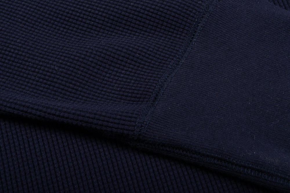NIGEL CABOURN CREW NECK HIGH DENSITY WAFFLE - NAVY