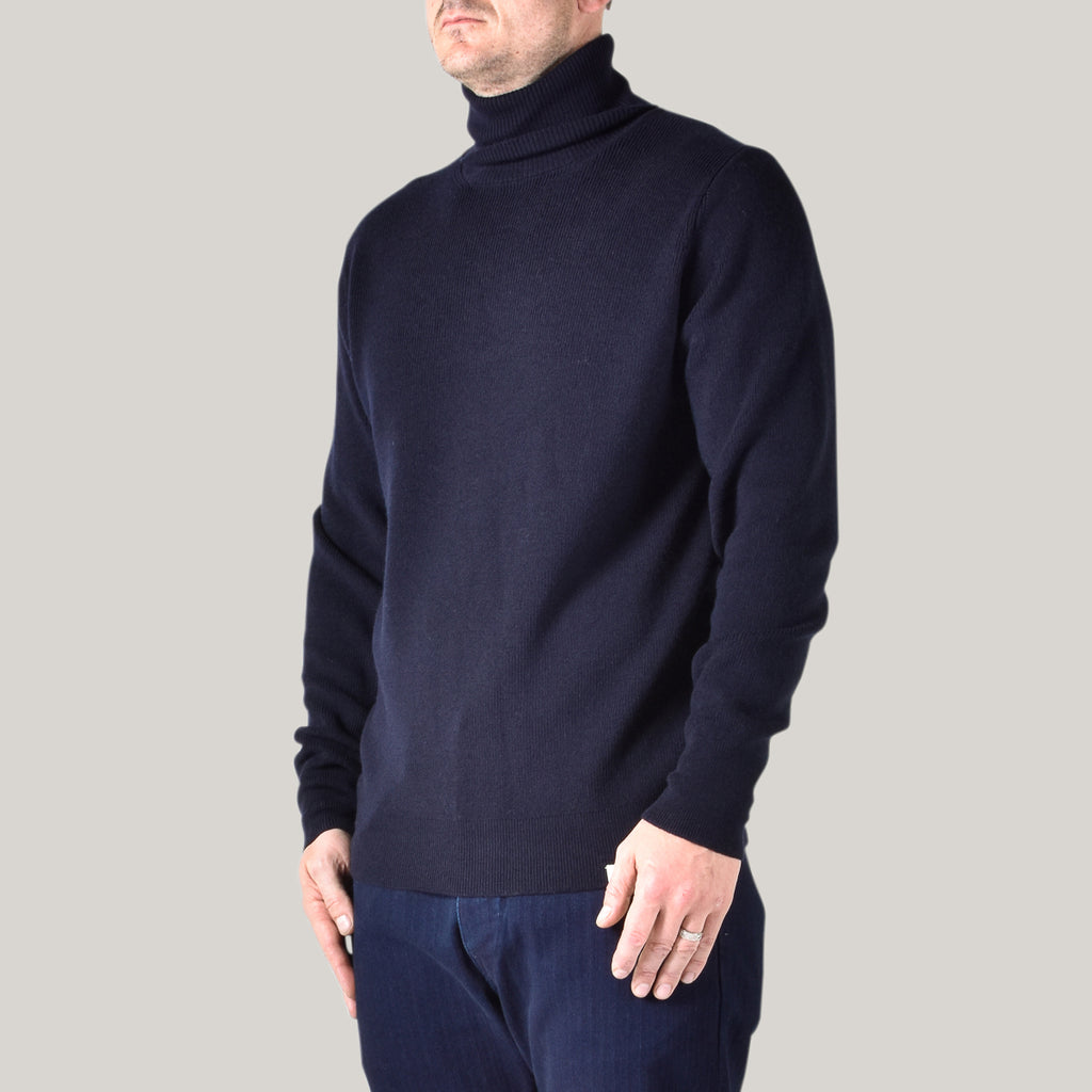 MERZ B SCHWANEN WOOL TURTLENECK PULLOVER - DARK NAVY