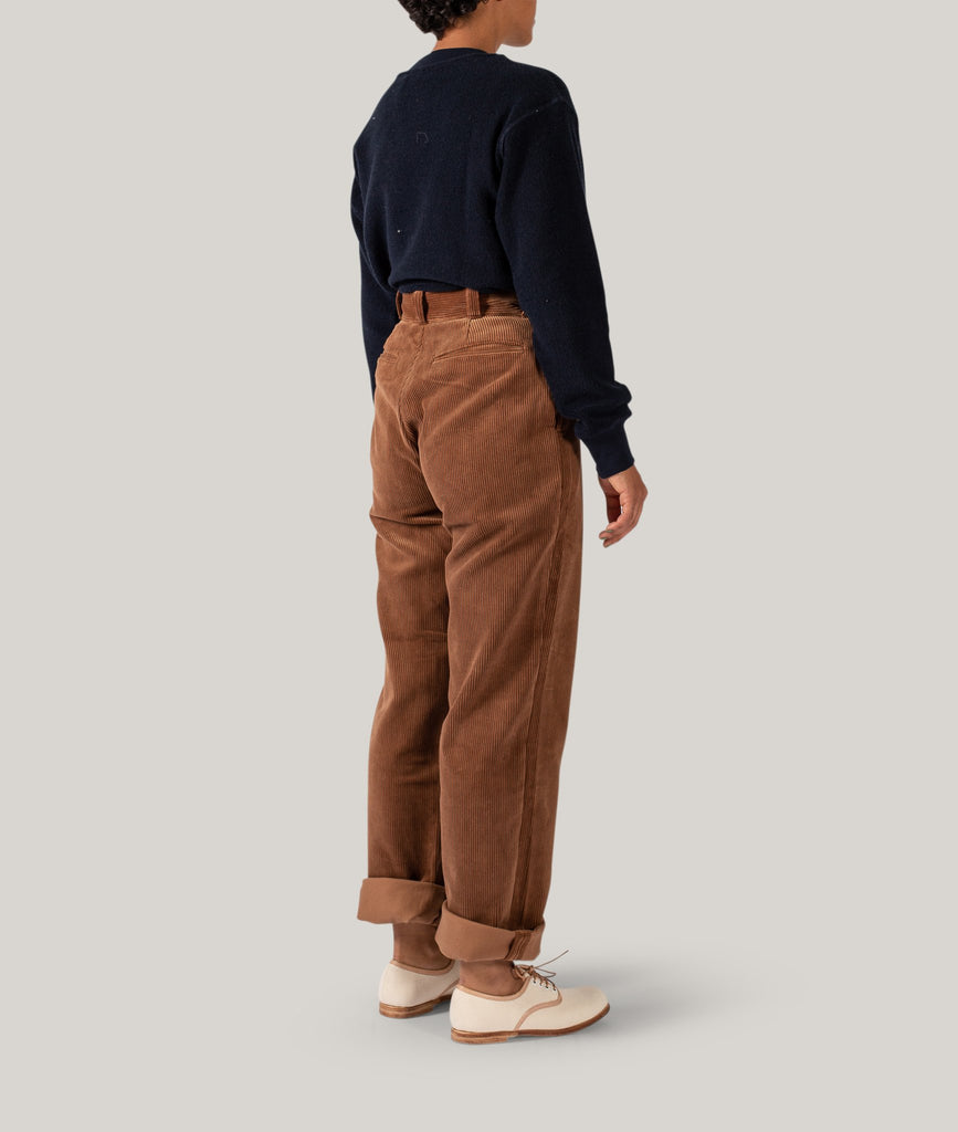 LENO CORDUROY TROUSERS - BROWN