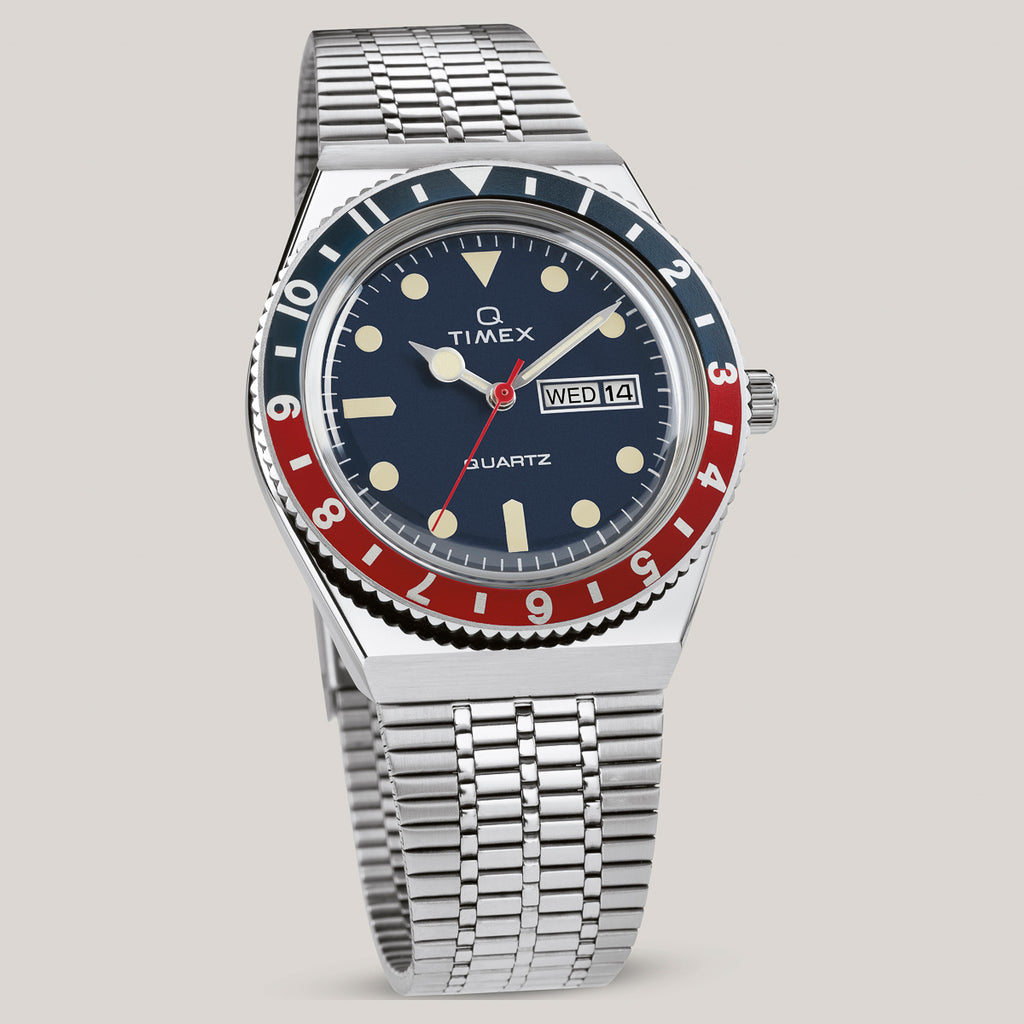 Q TIMEX REISSUE 38MM STAINLESS STEEL BRACELET WATCH