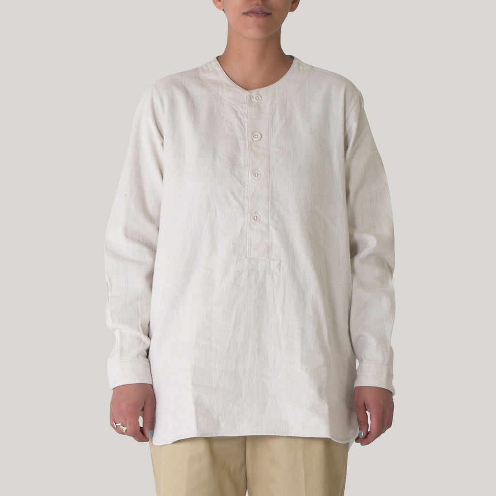 SNOW PEAK COTTON/WOOL FLANNEL SLEEPING SHIRT - ECRU