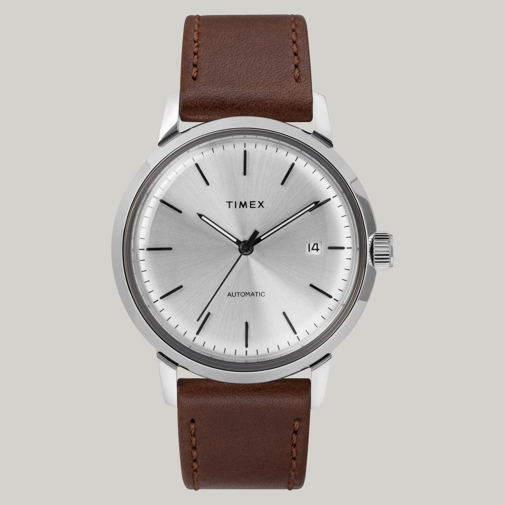TIMEX MARLIN 40MM AUTOMATIC WATCH - BROWN LEATHER
