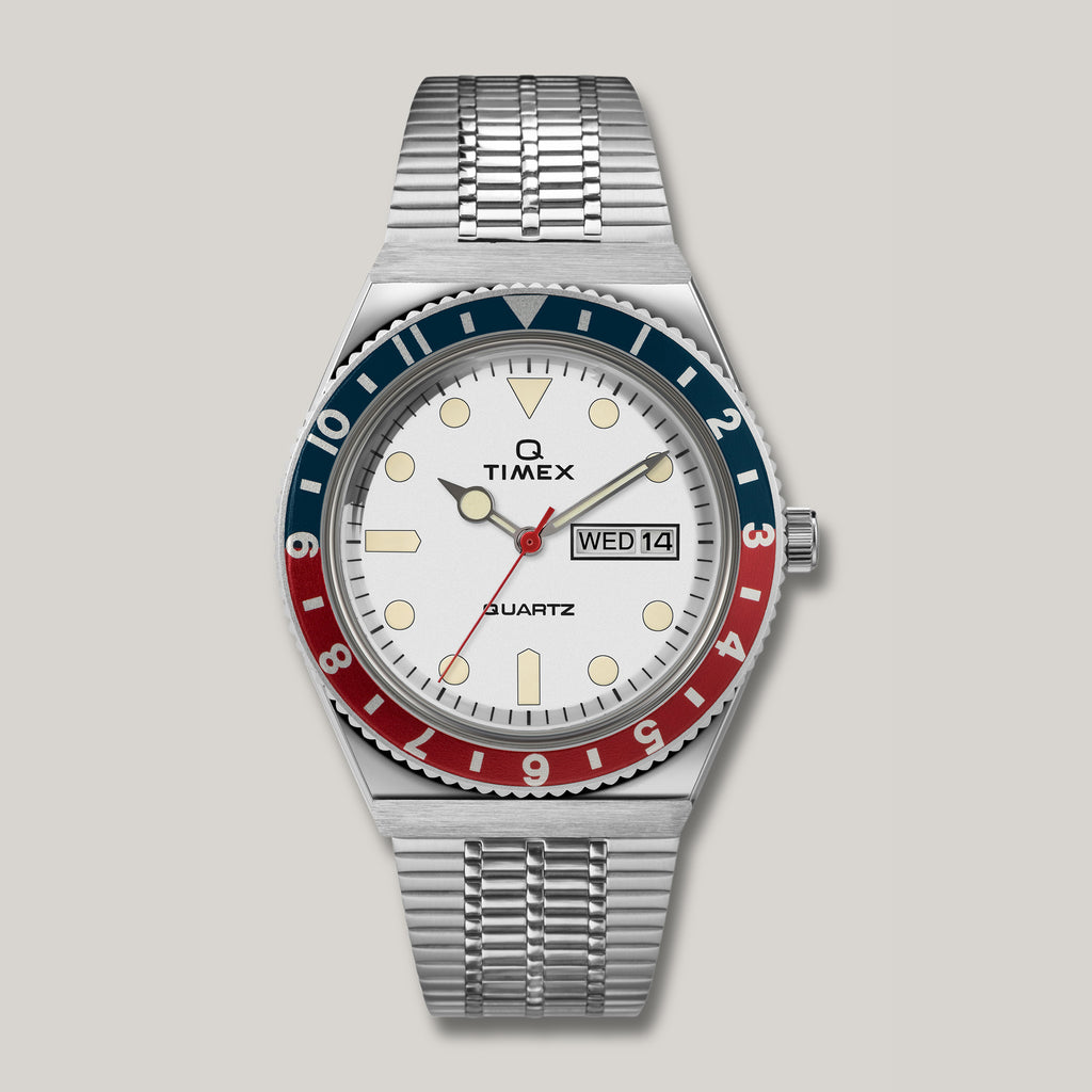 Q TIMEX REISSUE 38MM STAINLESS STEEL BRACELET WATCH - WHITE/RED/BLUE