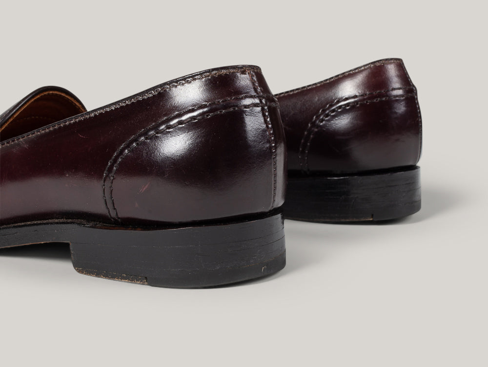 USED ALDEN FULL STRAP SHELL CORDOVAN LOAFERS - COLOUR 8