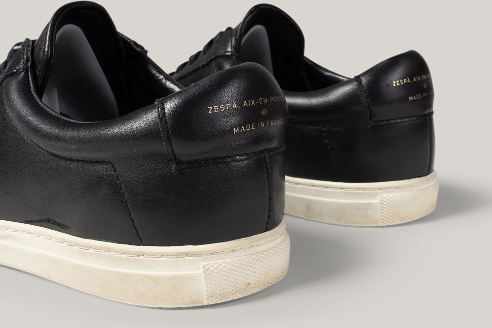 USED ZESPA ZSP4 SNEAKERS - BLACK LEATHER