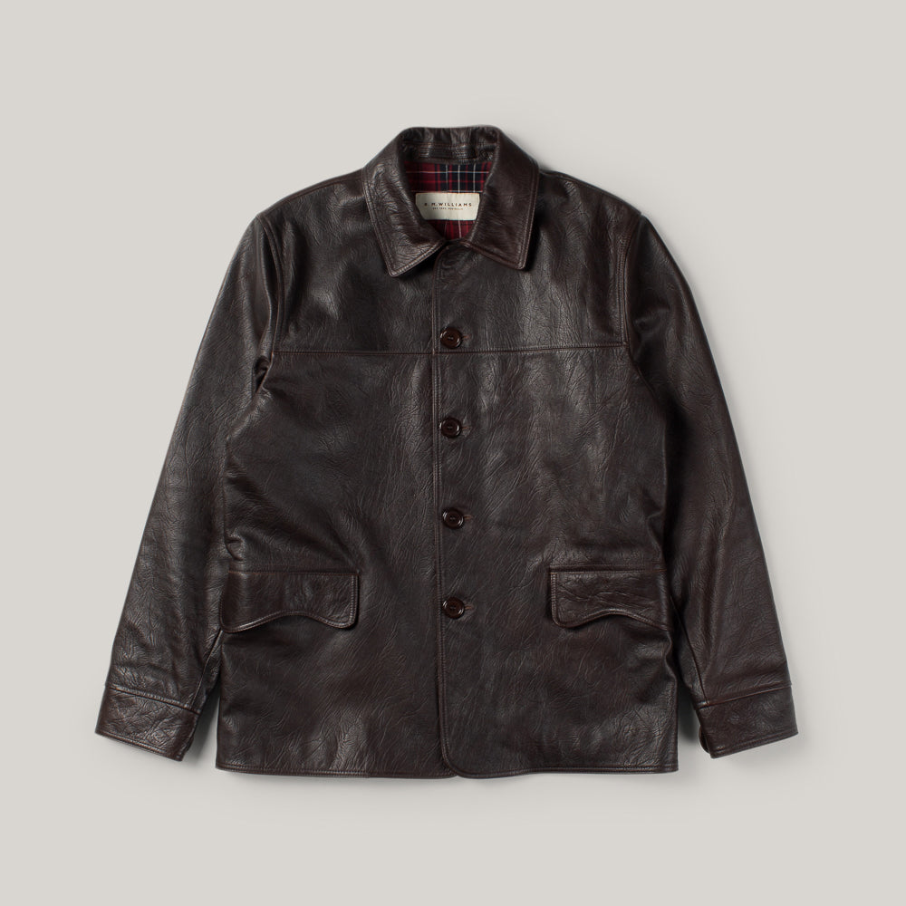 USED R.M. WILLIAMS LEATHER JACKET - DARK BROWN