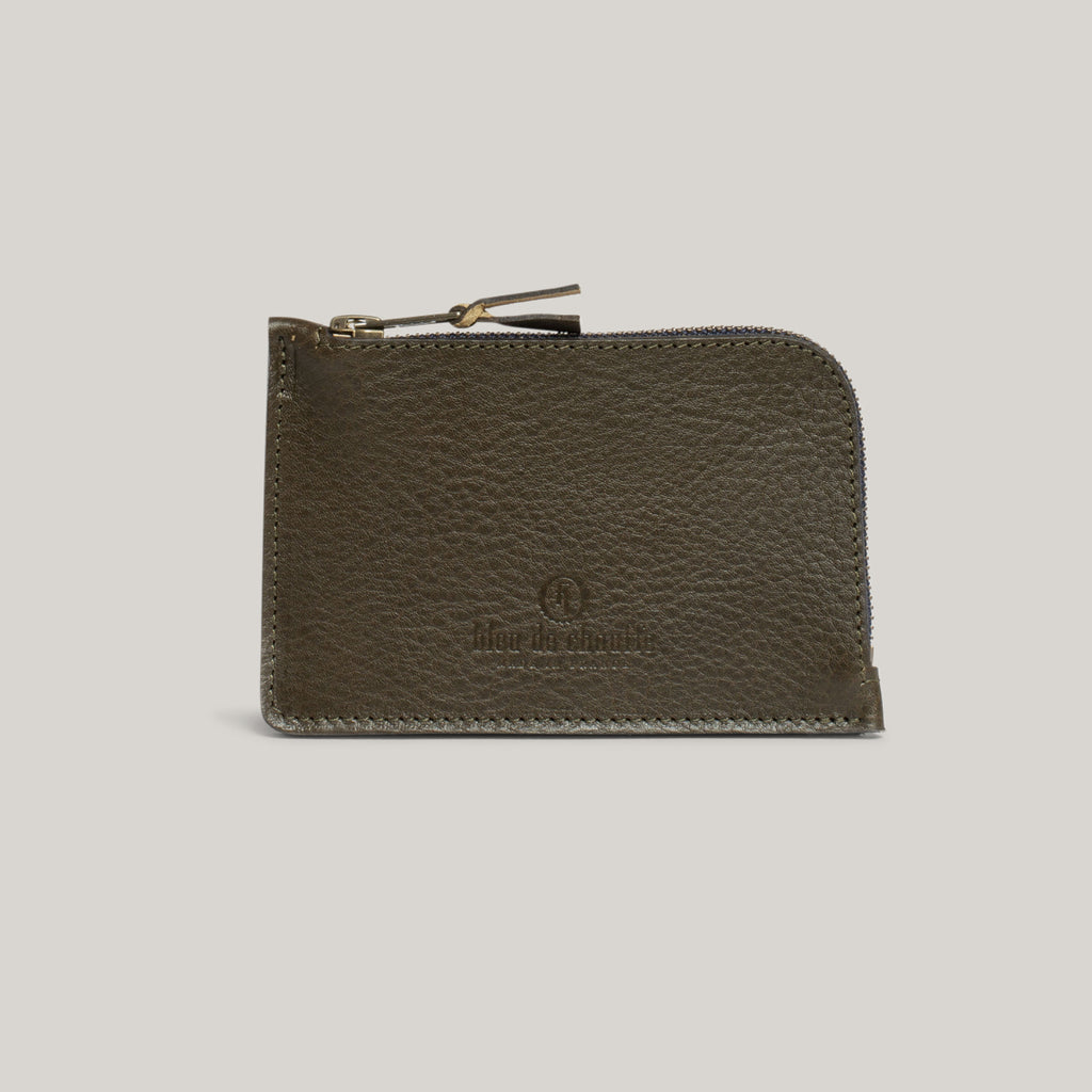 BLEU DE CHAUFFE POGNON ZIPPERED PURSE - KHAKI