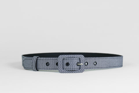 Geometric Zig Zag Black & White Belt