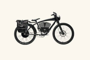 Scrambler S bike with rack bag and lock
