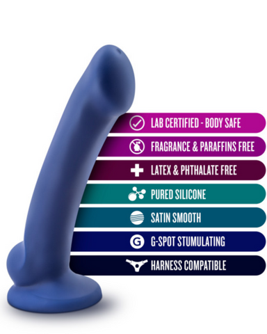 Avant D10 Ergo Mini 6.5 Inch Dildo - Indigo illustrating its qualities