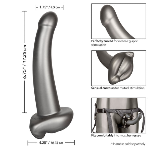 Harness Me Ultra Soft 6.5 Inch G-Spot & Pegging Dildo in 4 different frames illustrating the dildo's various features