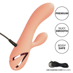 California Dreaming Monterey Magic Thumping Rabbit Vibrator against a white background showing the product's features