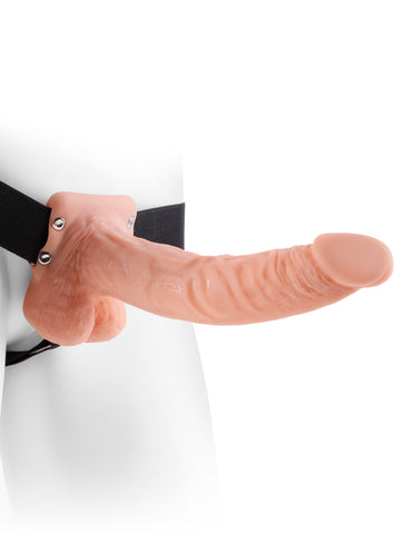 Fetish Fantasy Hollow Strap On Dildo with Balls 9 inches - Beige on mannequin