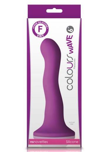 Colours Wave 6 Inch Silicone Dildo by NS Novelties - Purple BOX