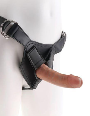 King Cock Strap On Harness Set with Realistic 6 Inch Dildo - Tan