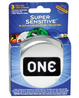 One Super Sensitive Lubricated Latex Condoms - Box of 3