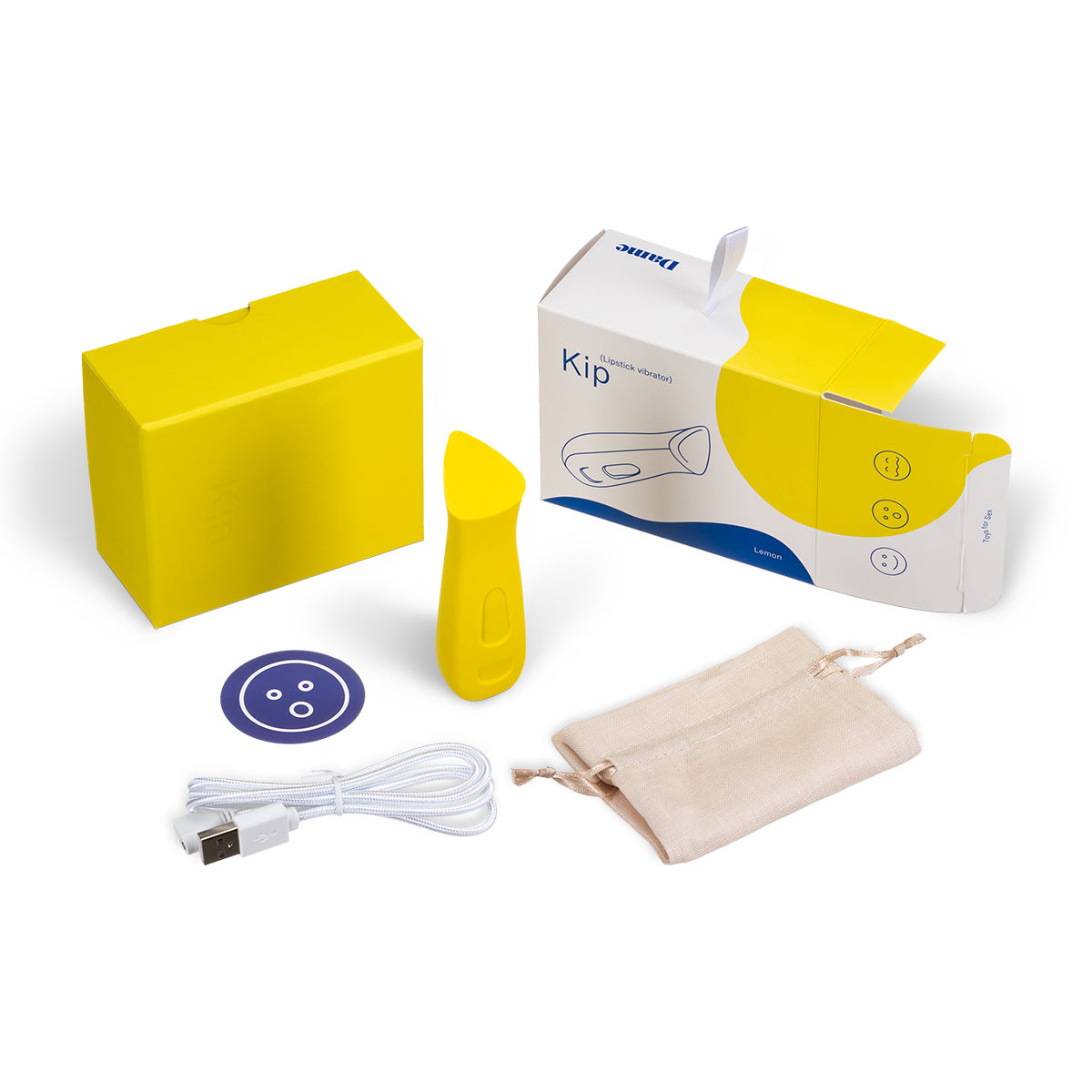 Kip Waterproof Rechargeable Lipstick Vibrator by Dame - Yellow with the box and its contents