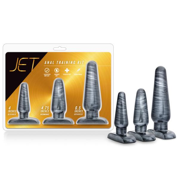 Jet Anal Trainer Kit Carbon Metallic Black 3 Butt Plugs by Blush package