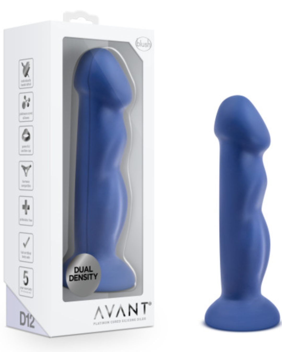 Avant D12 Suko  8 Inch Dildo by Blush Novelties - Indigo toy and box