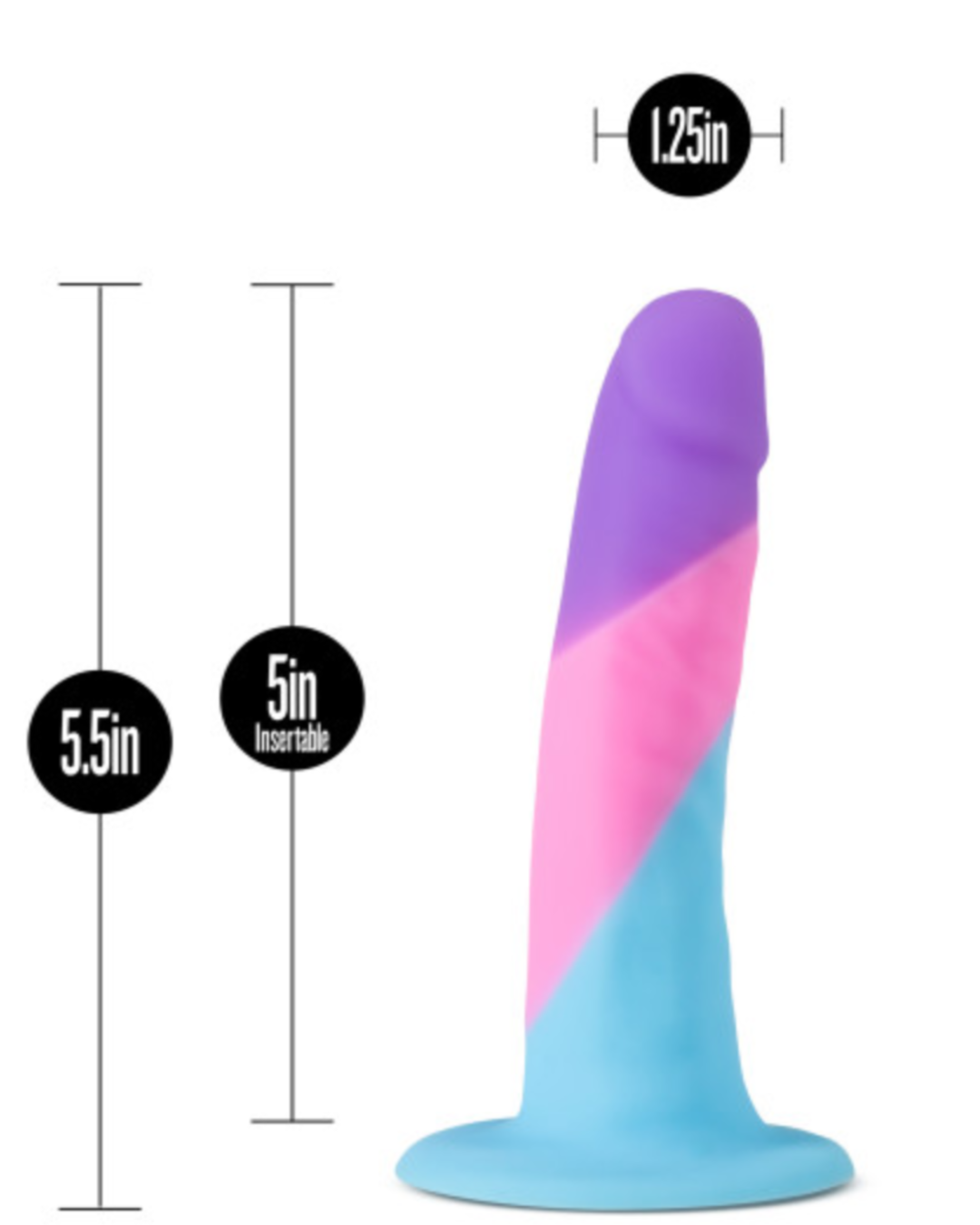 Avant D15 Vision of Love 5.5 Inch Dildo by Blush Novelties measurements