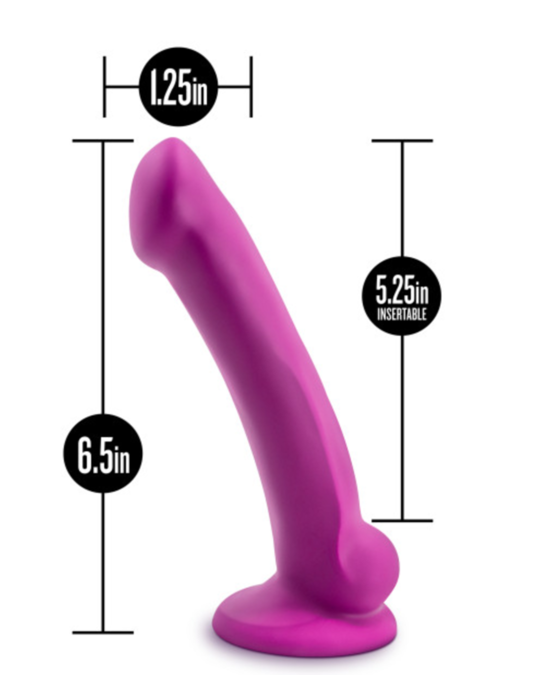 Avant D9 Ergo Mini Violet 6.5 Inch Dildo by Blush Novelties measurements