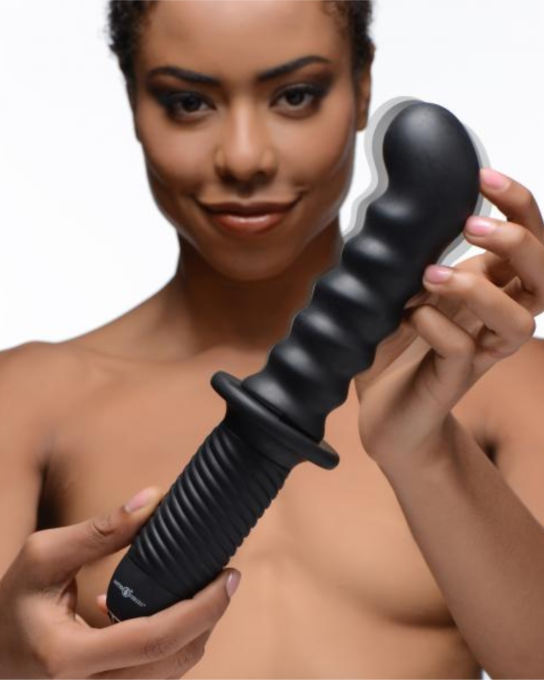 The Skew 10X Silicone Ass Thumper Vibrator With Handle  female model holding toy