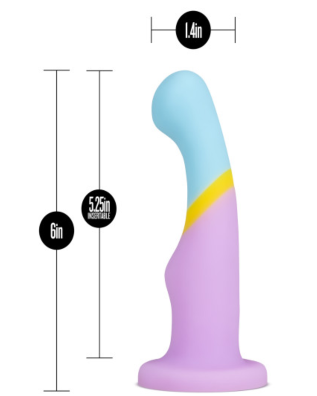 Avant D14 6 Inch Dildo by Blush Novelties - Heart of Gold Dimensions