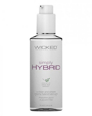 Wicked Simply Hybrid Lubricant 2.3 fl oz bottle close up
