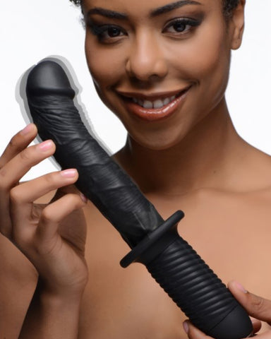 Ass Thumpers Large Realistic Vibrator With Handle - Black