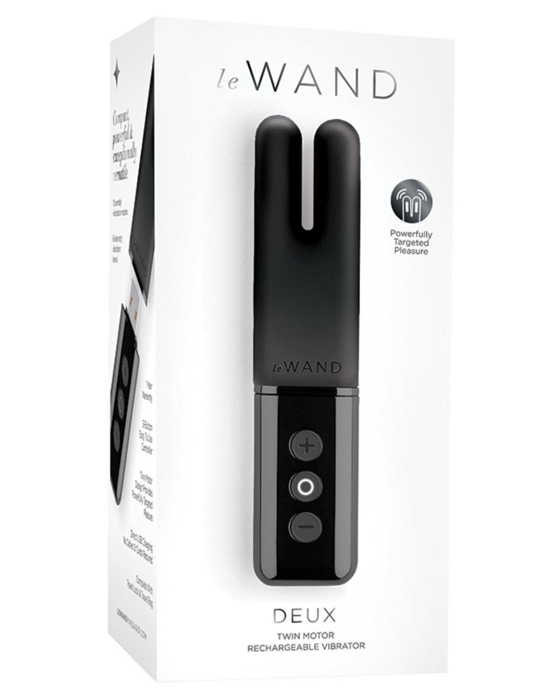 Le Wand Deux Twin Motor Rechargeable Waterproof Vibrator - Black box