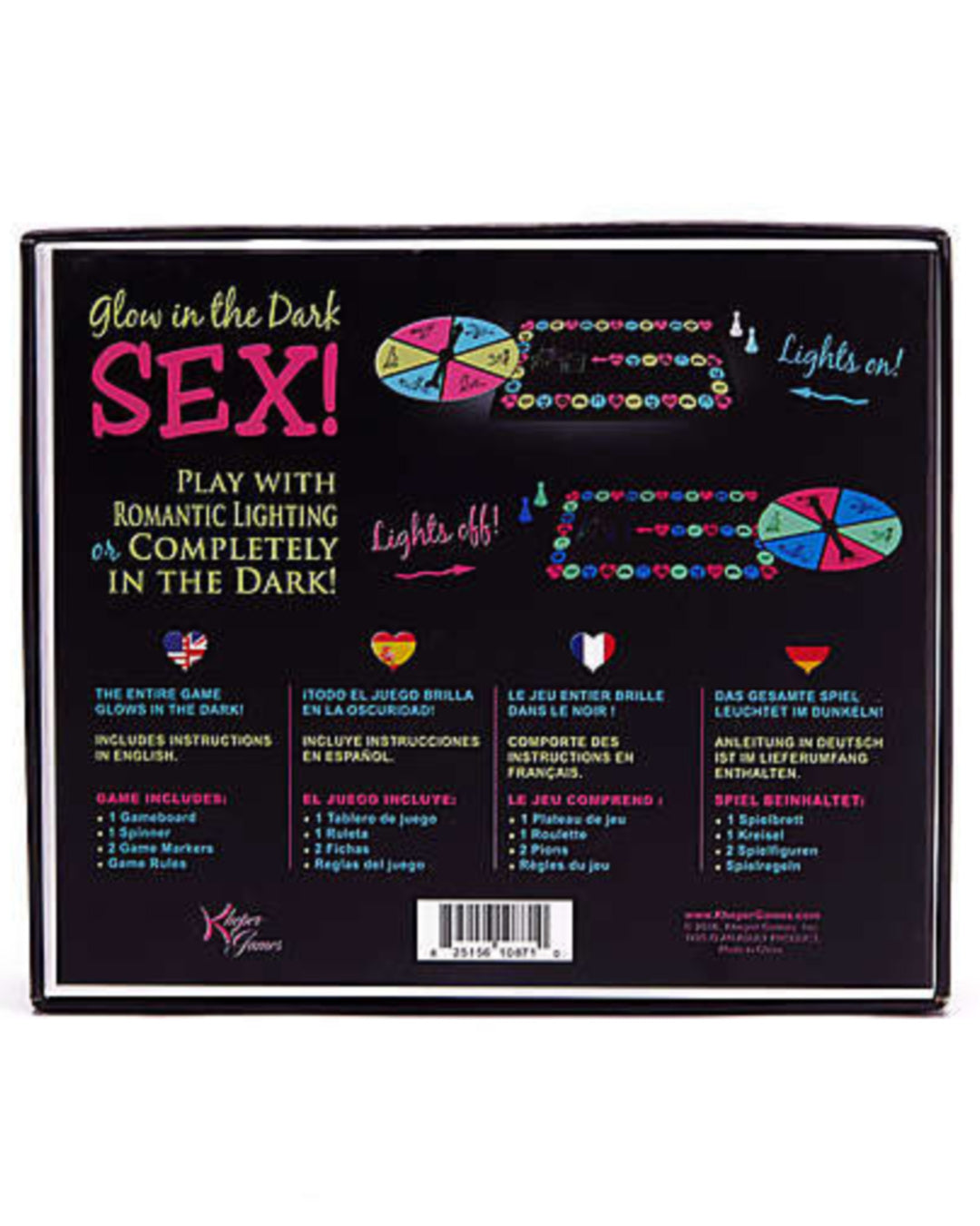 Glow In The Dark Sex Game by Kheper Games Back of Box