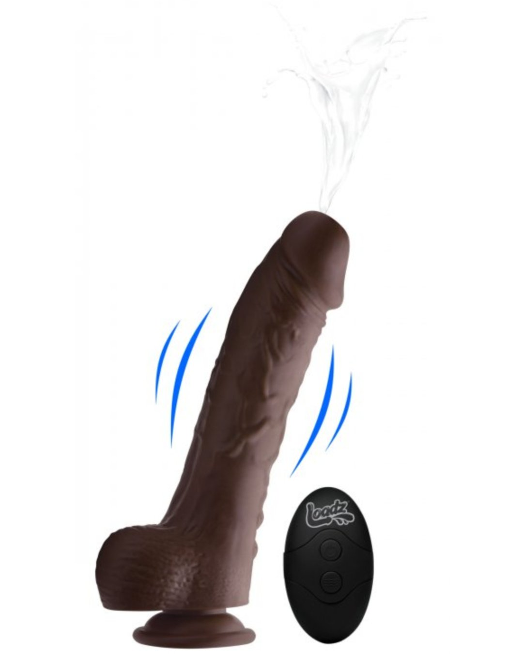 Loadz 7 Inch Vibrating Squirting Dildo with Wireless Remote Control - Chocolate showing the vibrating and squirting functions
