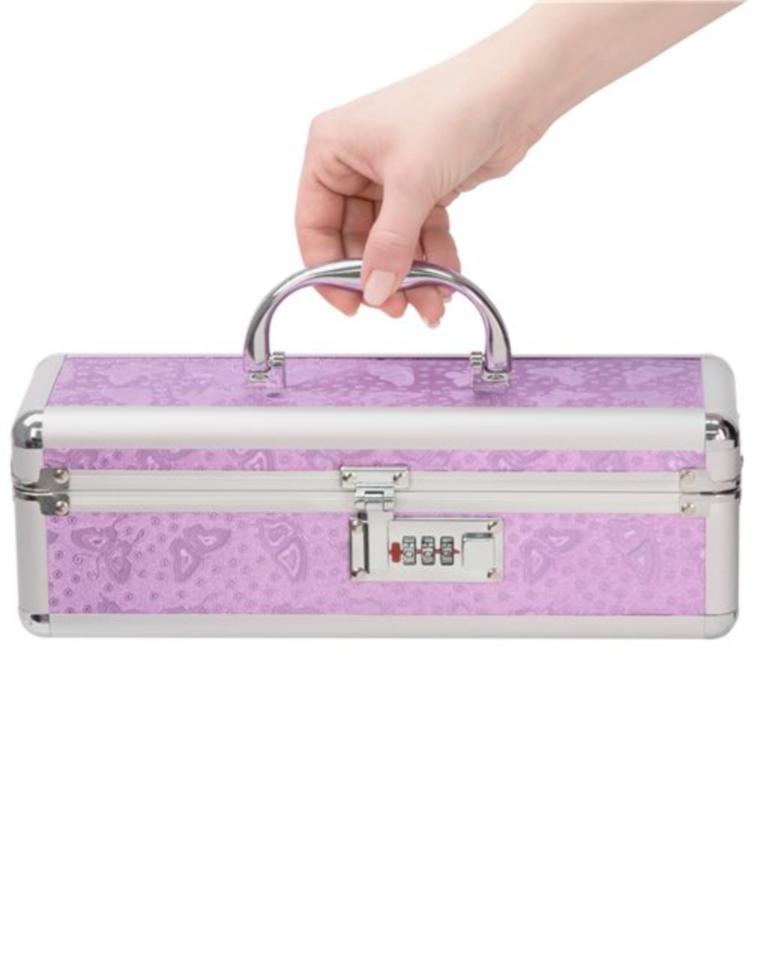 Lockable Vibrator Case Small - Purple hand holding the case