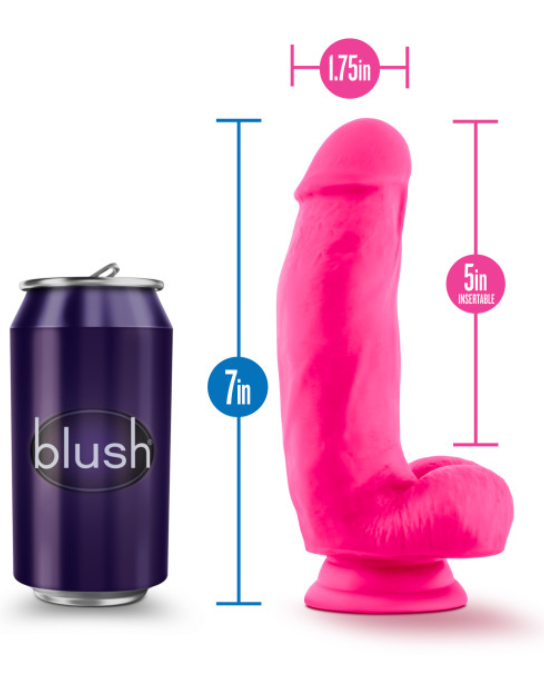 Neo Elite 7 Inch Dual Density Silicone Dildo with Balls by Blush - Neon Pink showing the dildos measurements