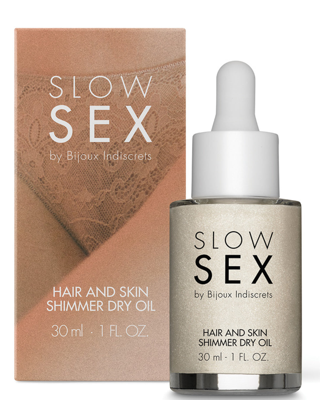 Bijoux Indiscrets Slow Sex Hair & Skin Shimmer Dry Oil next to box