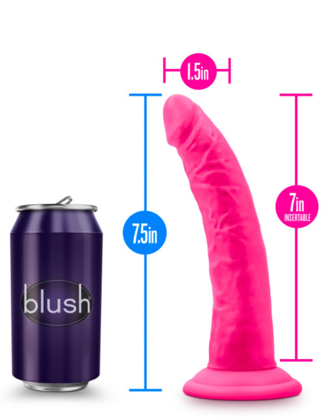 Neo Elite 7.5 Inch Dual Density Silicone Dildo by Blush - Neon Pink showing the measurements
