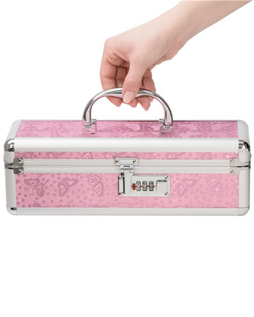 Lockable Vibrator Case Small - Pink hand holding the case