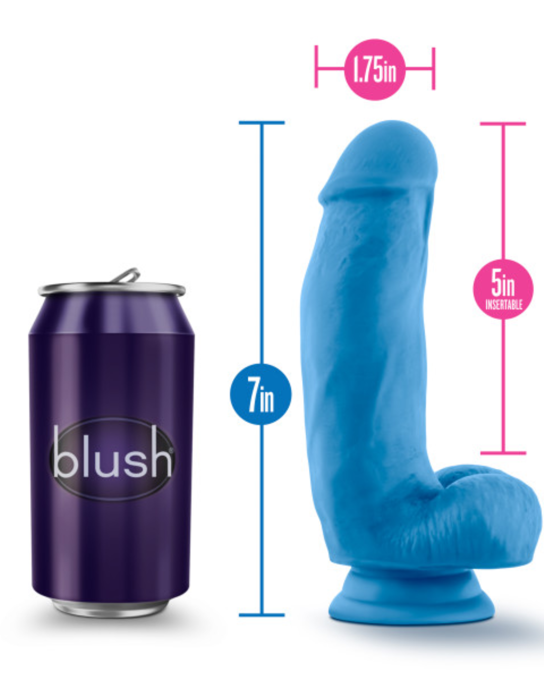 Neo Elite 7 Inch Dual Density Silicone Dildo with Balls by Blush - Neon Blue showing the measurements