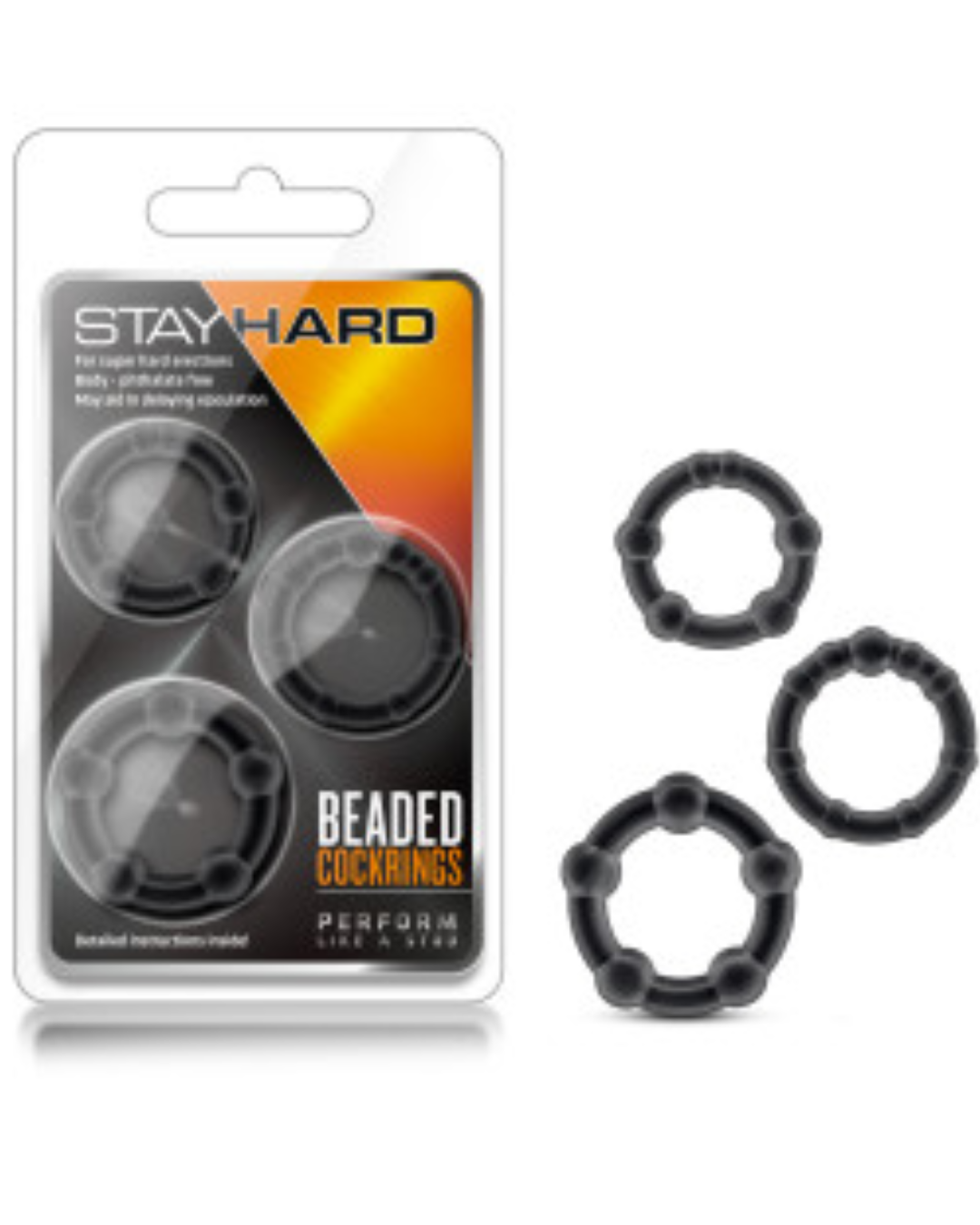 Stay Hard Beaded Cock Ring 3 Package by Blush Novelties - Assorted Colors