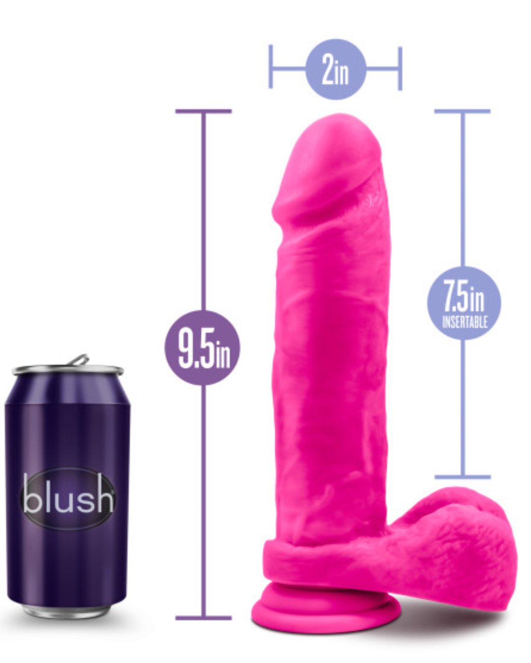 Au Naturel Bold Massive 9 Inch Sensa Feel Suction Cup Dildo by Blush - Pink with soda can for scale