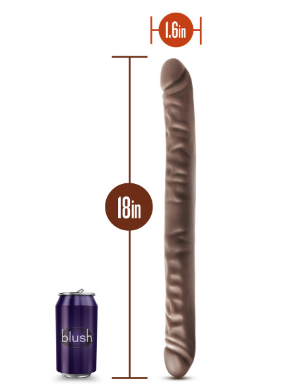 Dr. Skin 18 Inch Realistic Double Dildo - Chocolate with measurements